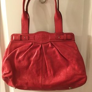 Coach pleated leather shoulder bag